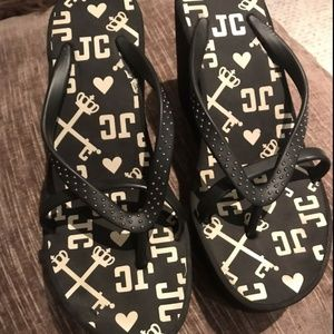 juicy couture wedge sandals flip flops shoes new